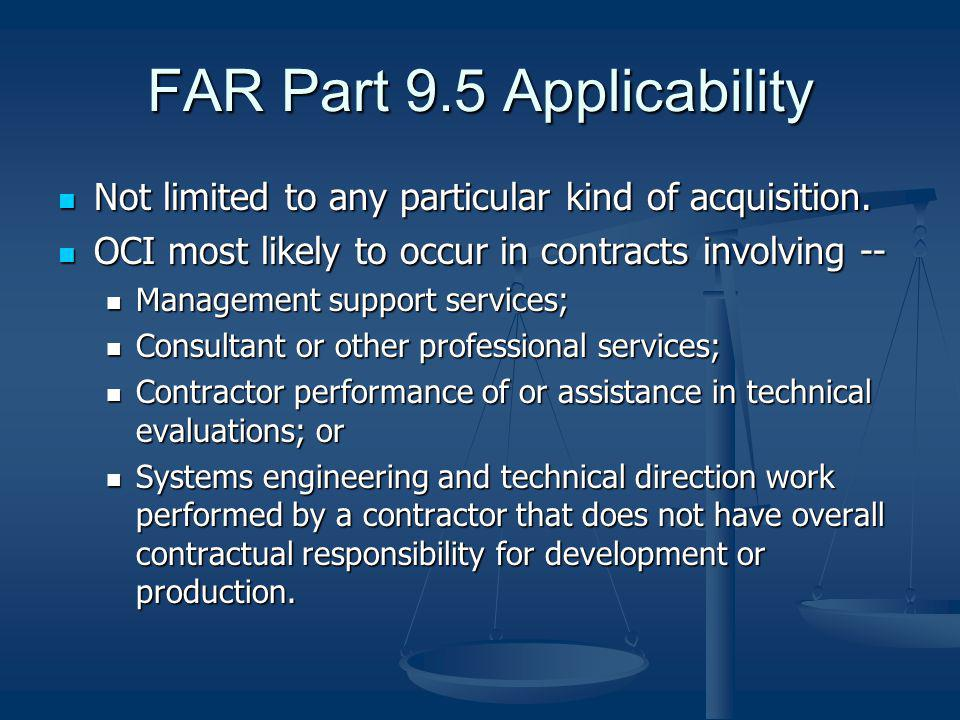 FAR Part 9.5 Applicability