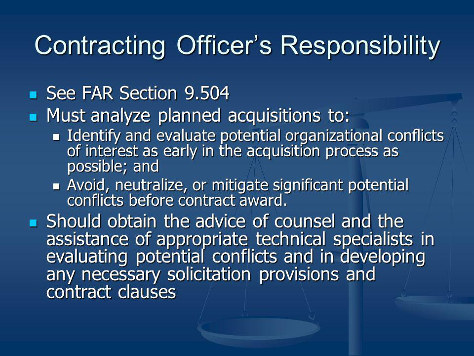 Contracting Officer's Responsibility