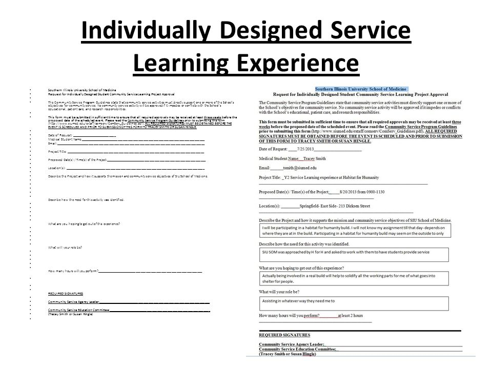 Individually Designed Service Learning Experience
