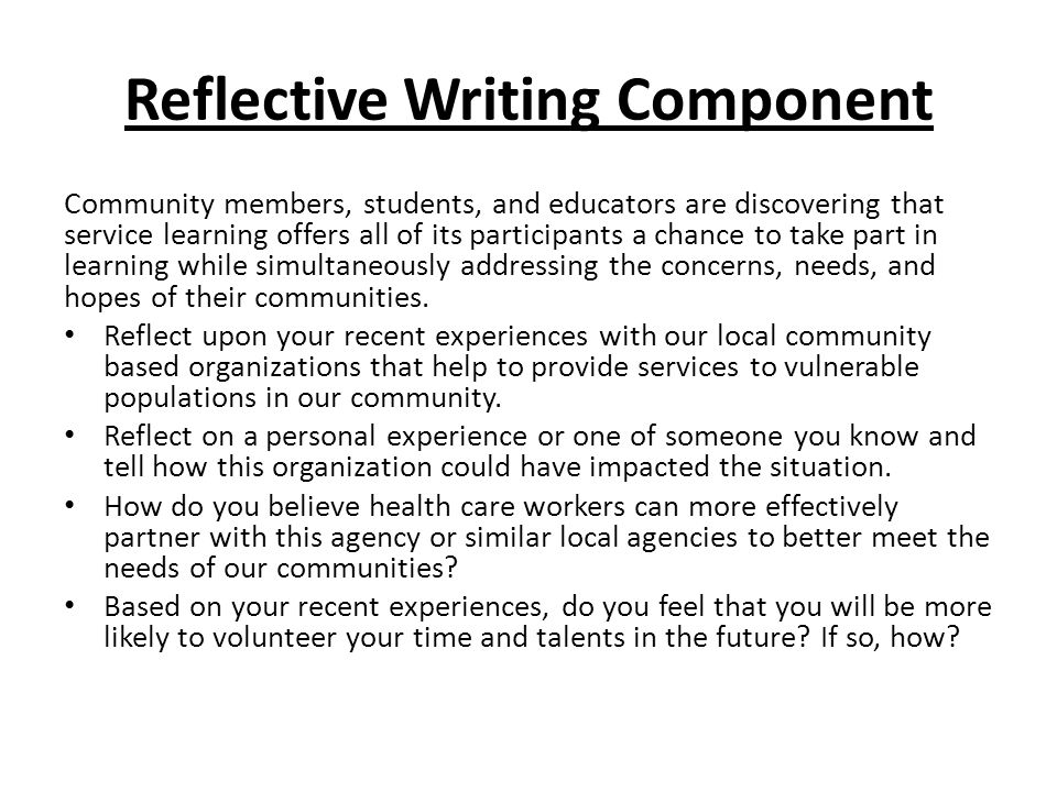 Reflective Writing Component