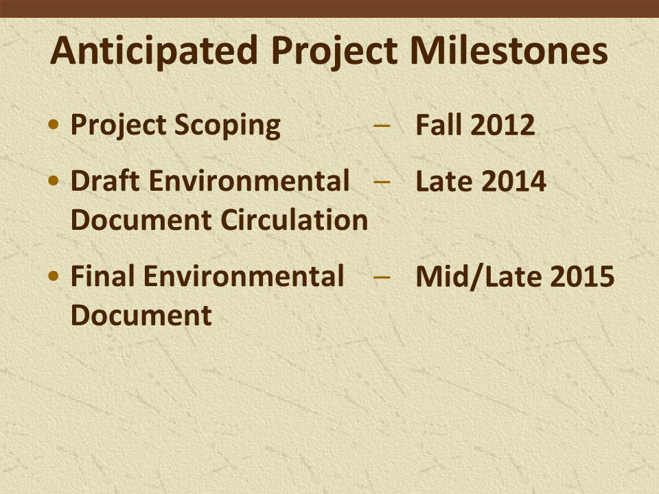 Anticipated Project Milestones