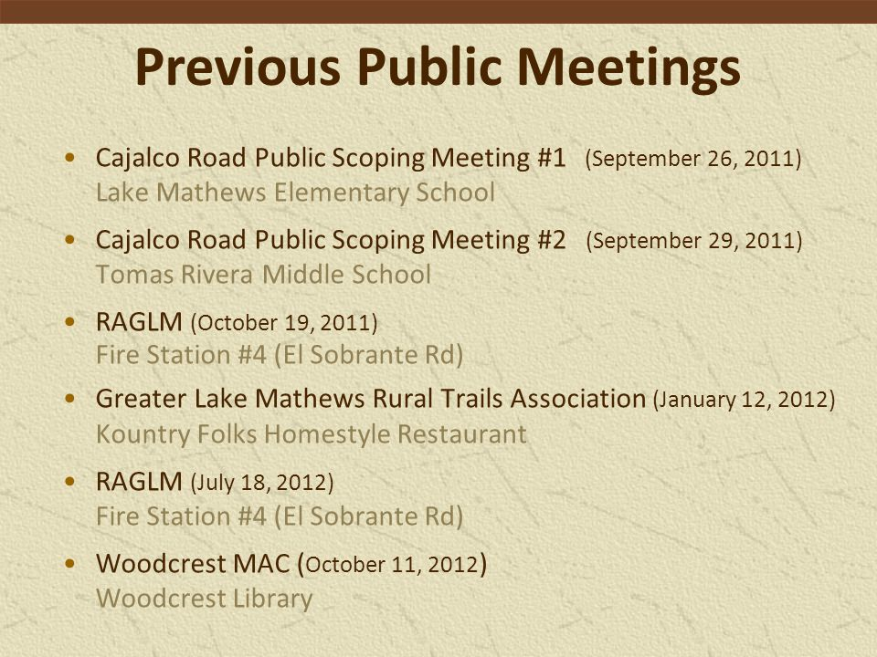 Previous Public Meetings