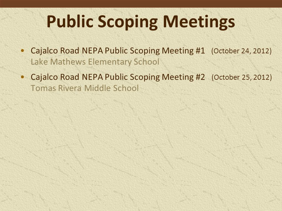 Public Scoping Meetings
