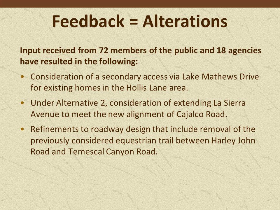 Feedback = Alterations