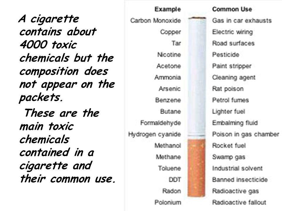 A cigarette contains about 4000 toxic chemicals but the composition does not appear on the packets.