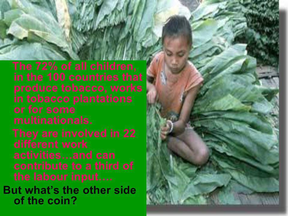 The 72% of all children, in the 100 countries that produce tobacco, works in tobacco plantations or for some multinationals.