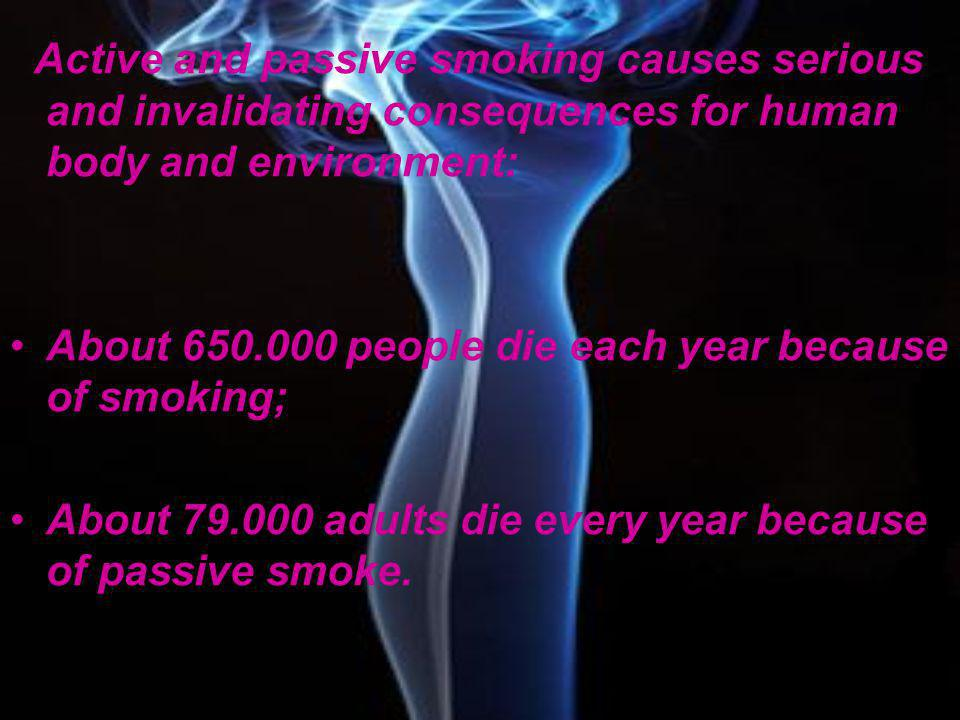 Active and passive smoking causes serious and invalidating consequences for human body and environment:
