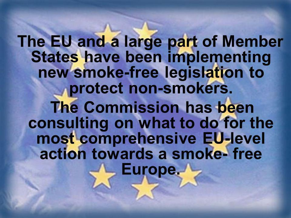 The EU and a large part of Member States have been implementing new smoke-free legislation to protect non-smokers.