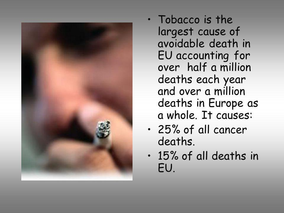 Tobacco is the largest cause of avoidable death in EU accounting for over half a million deaths each year and over a million deaths in Europe as a whole. It causes: