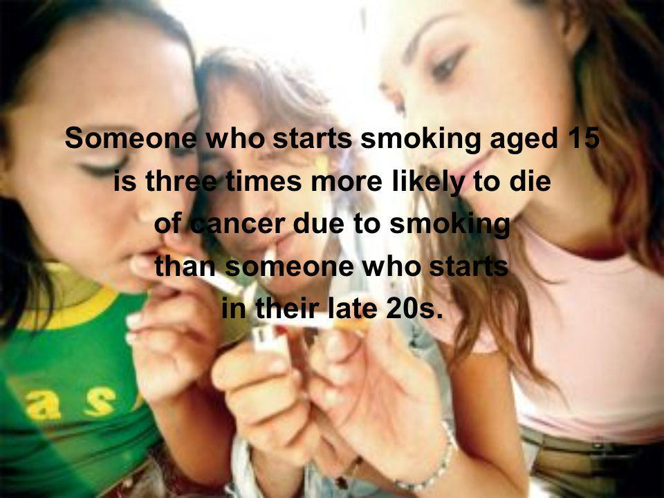 Someone who starts smoking aged 15 is three times more likely to die