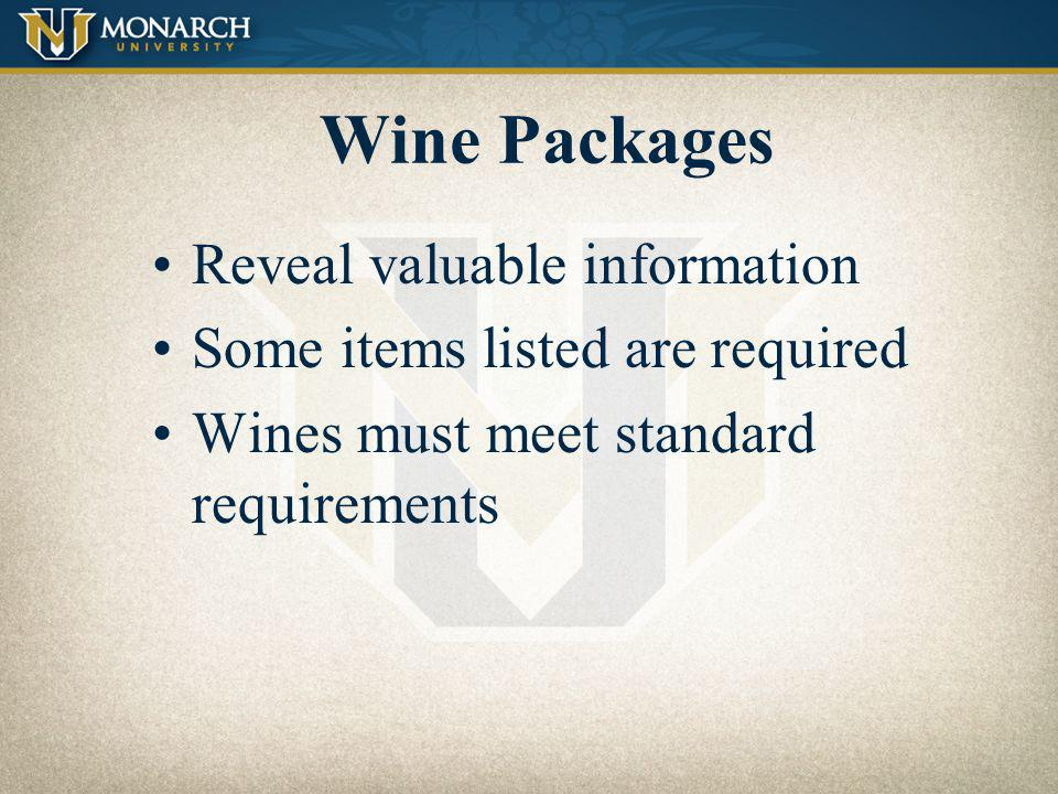 Wine Packages Reveal valuable information