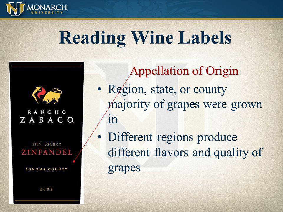 Reading Wine Labels Appellation of Origin