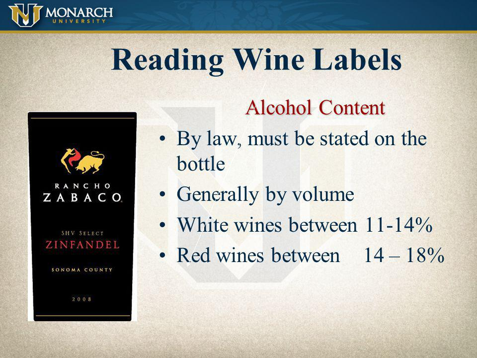 Reading Wine Labels Alcohol Content