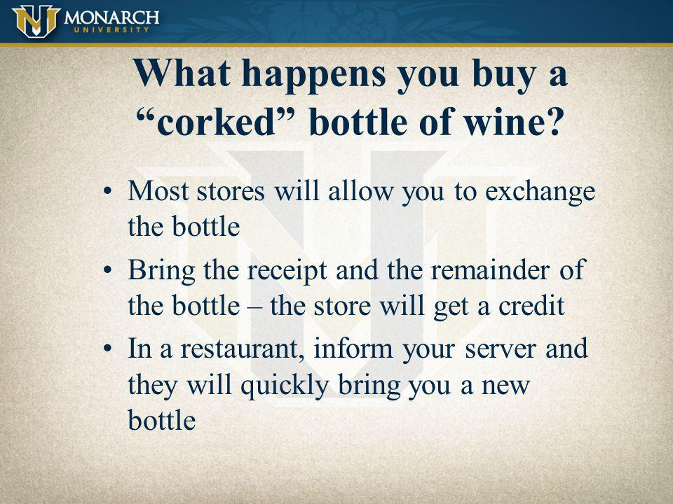 What happens you buy a corked bottle of wine