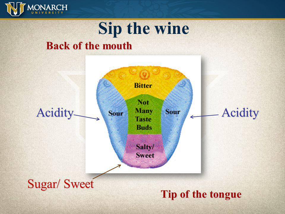 Sip the wine Acidity Acidity Sugar/ Sweet Back of the mouth