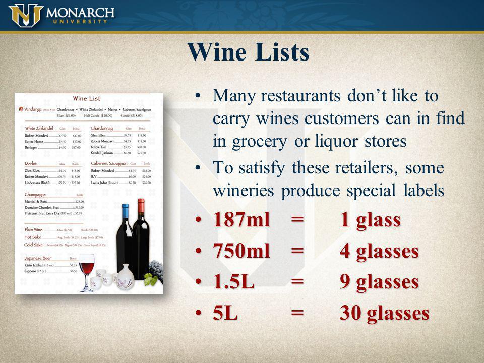 Wine Lists 187ml = 1 glass 750ml = 4 glasses 1.5L = 9 glasses