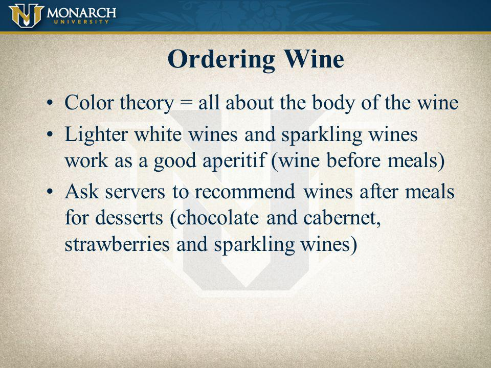 Ordering Wine Color theory = all about the body of the wine