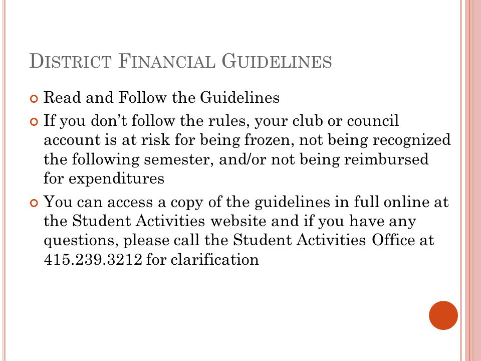 District Financial Guidelines
