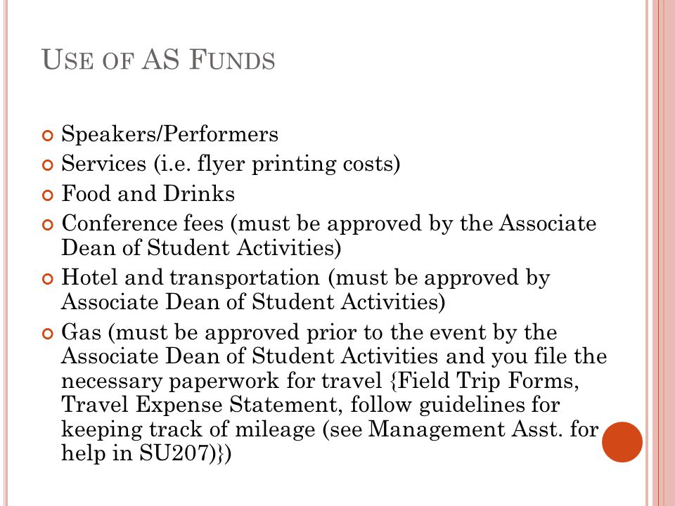Use of AS Funds Speakers/Performers
