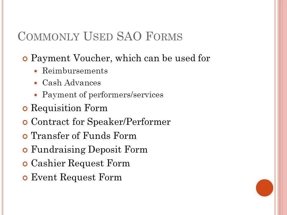 Commonly Used SAO Forms