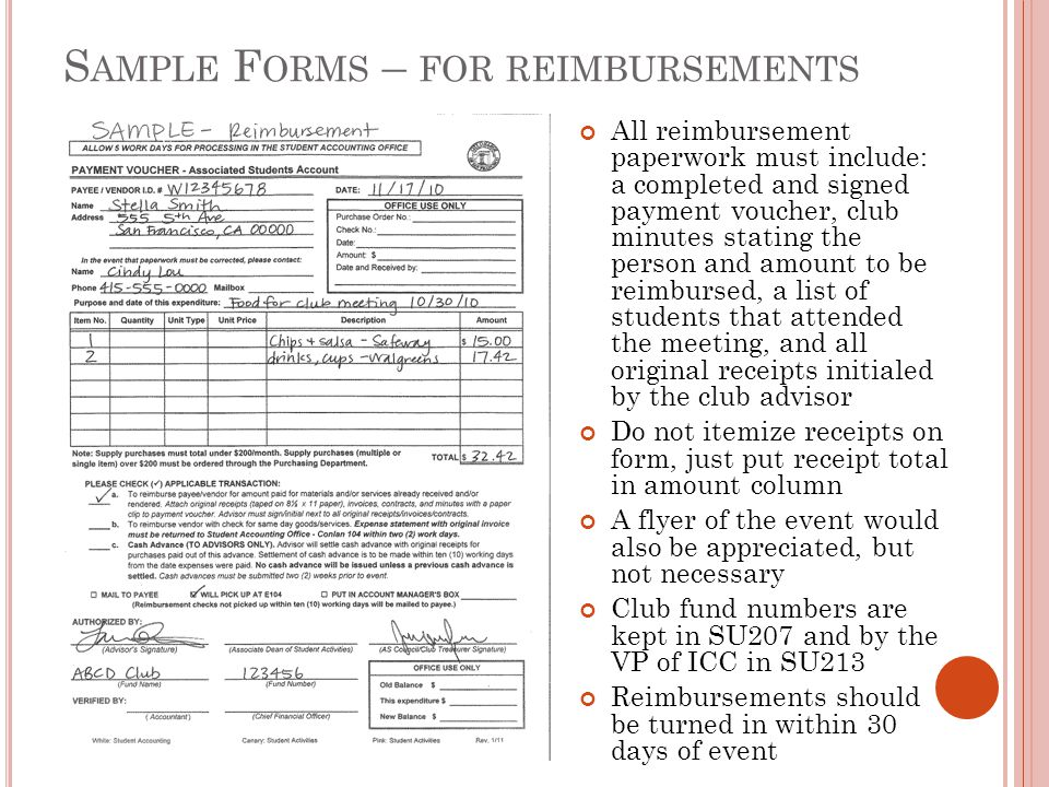 Sample Forms – for reimbursements