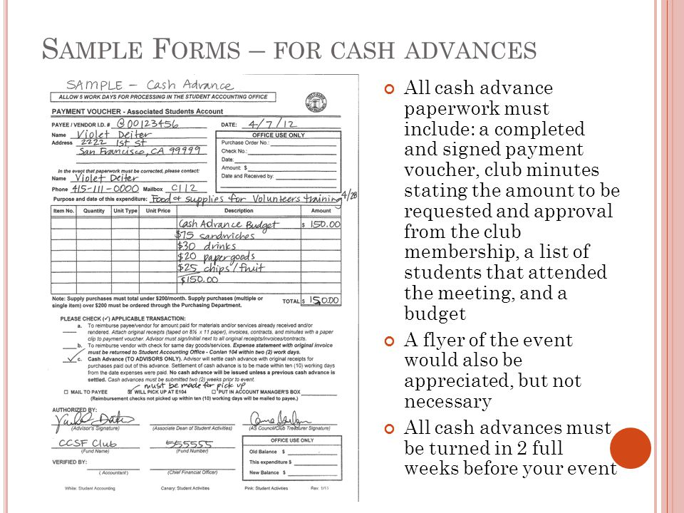 Sample Forms – for cash advances