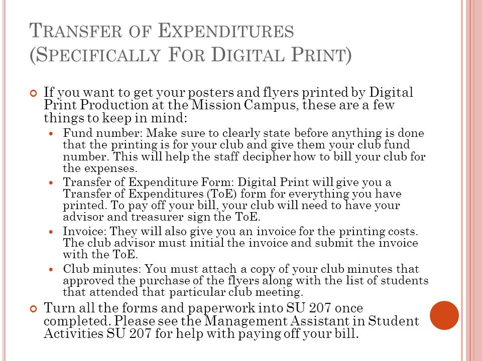 Transfer of Expenditures (Specifically For Digital Print)
