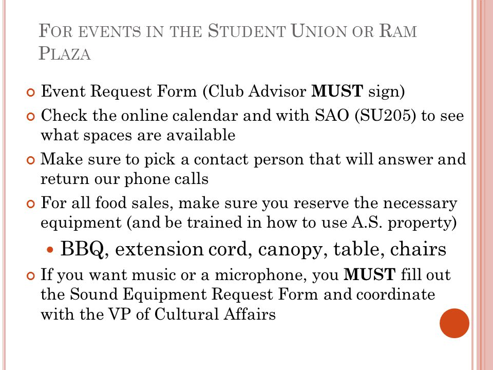 For events in the Student Union or Ram Plaza