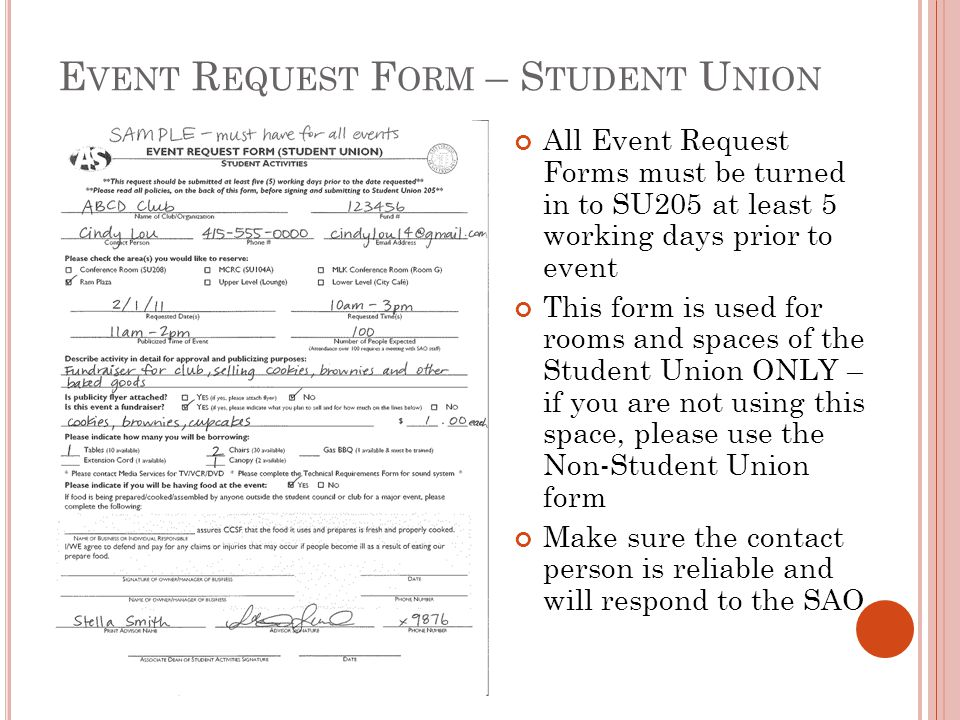 Event Request Form – Student Union