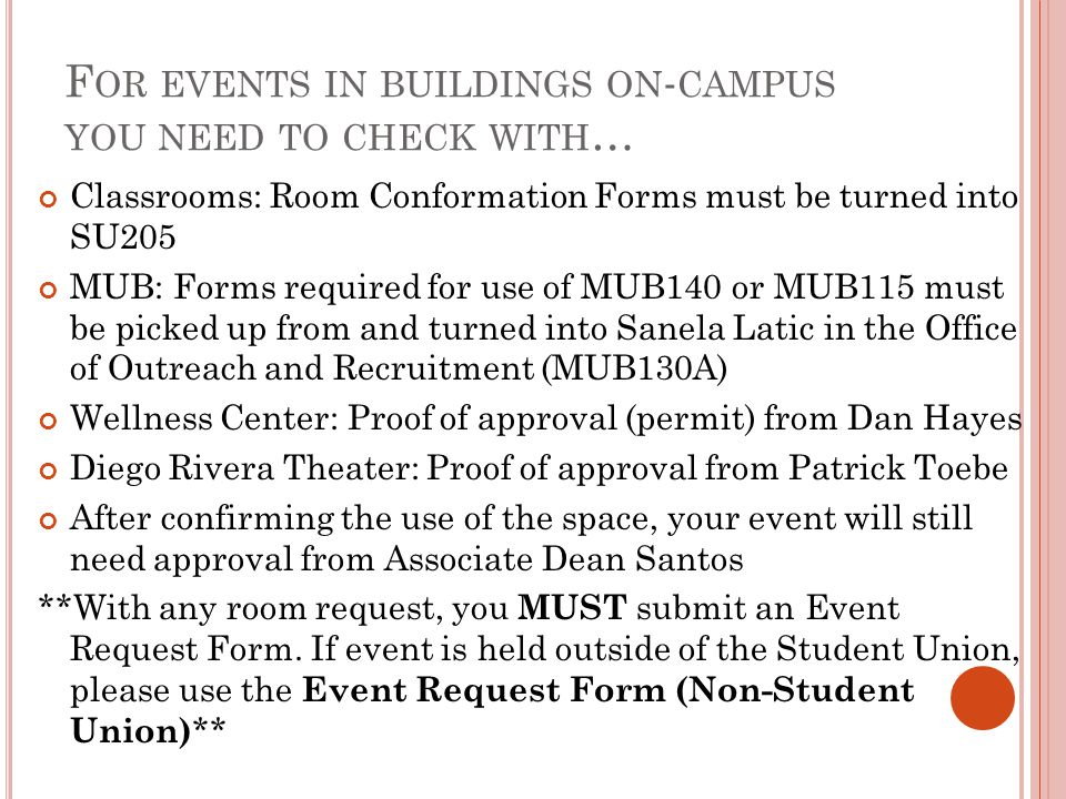 For events in buildings on-campus you need to check with…