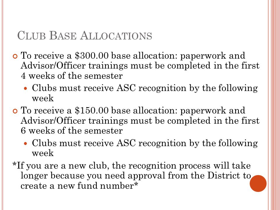 Club Base Allocations