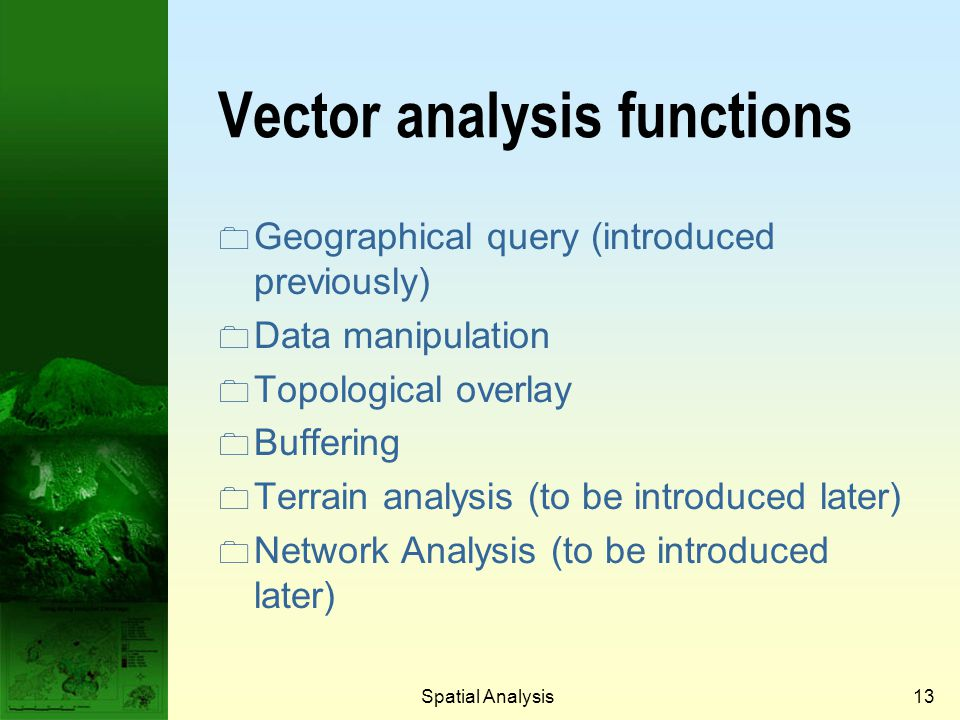 Vector analysis functions