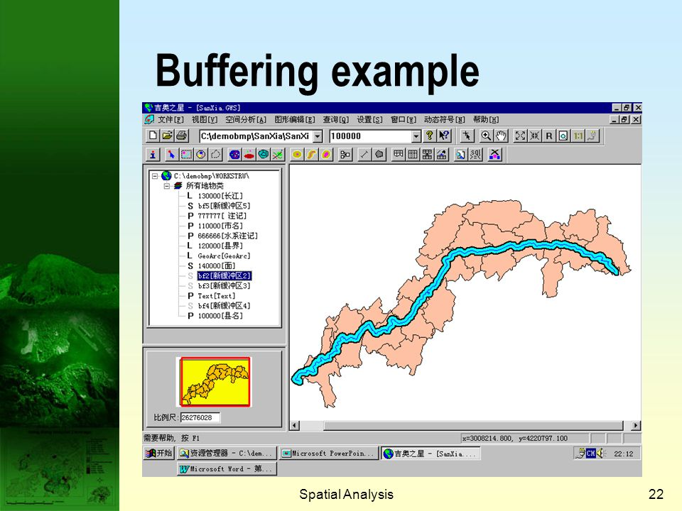 Prof. Qiming Zhou Buffering example Spatial Analysis Spatial Analysis