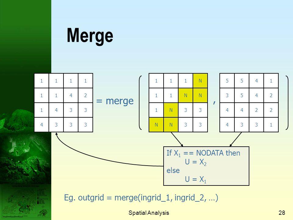 Merge , = merge Eg. outgrid = merge(ingrid_1, ingrid_2, …)