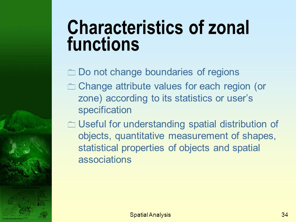 Characteristics of zonal functions
