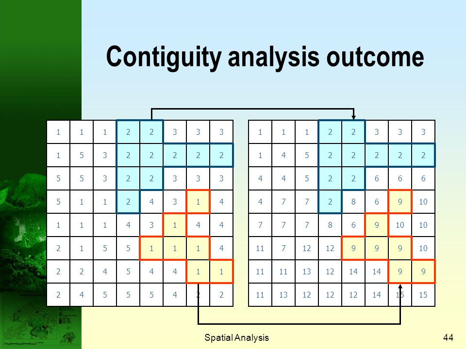 Contiguity analysis outcome
