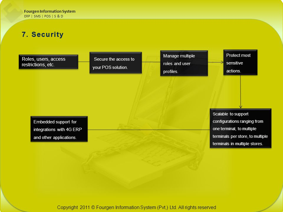 7. Security Secure the access to your POS solution.