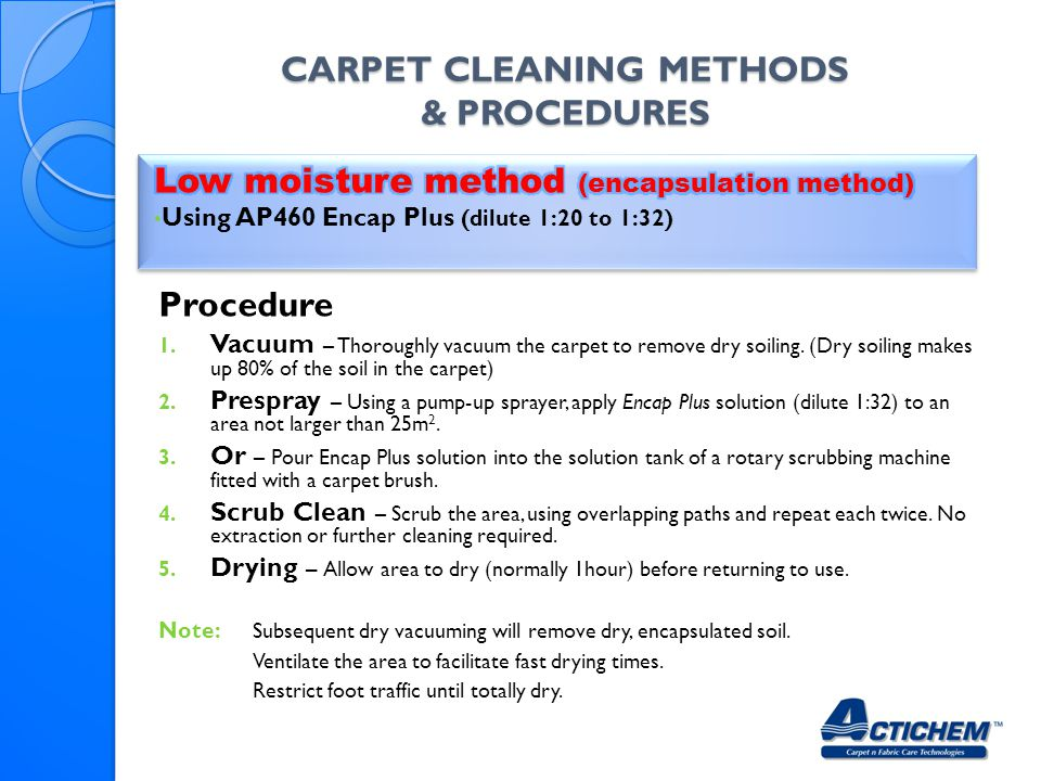 Carpet Cleaning Methods & Procedures