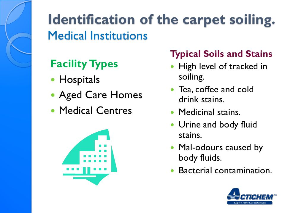 Identification of the carpet soiling. Medical Institutions