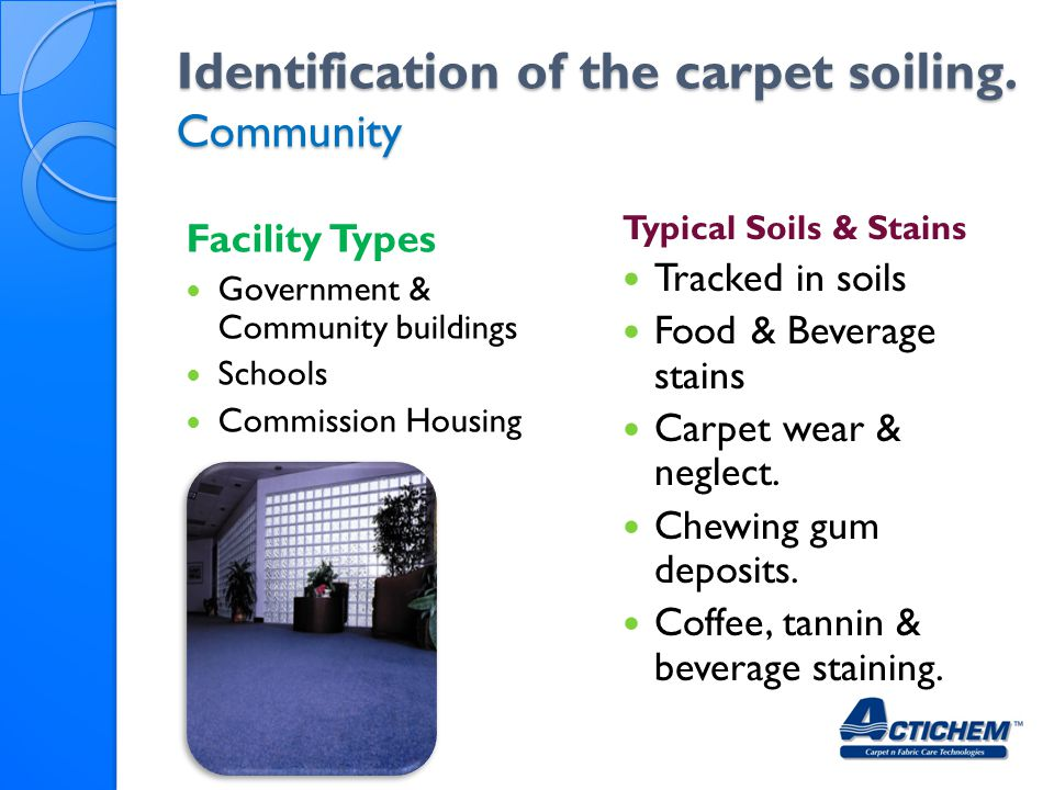 Identification of the carpet soiling. Community