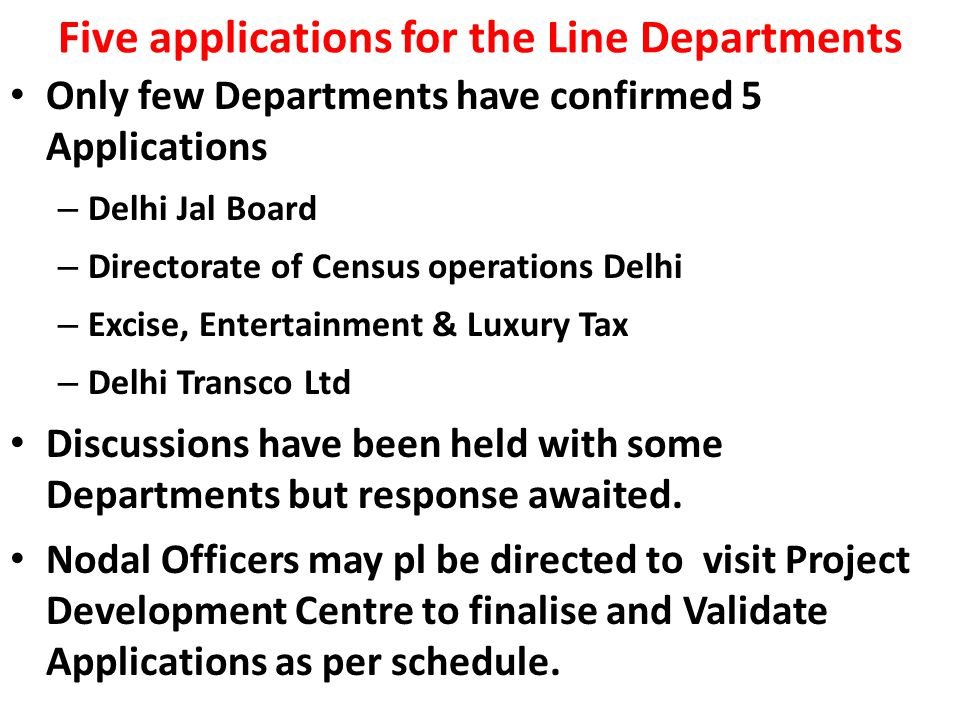 Five applications for the Line Departments