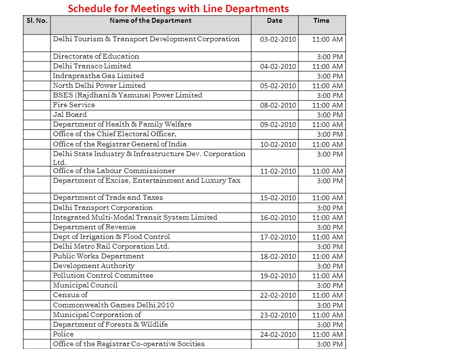Schedule for Meetings with Line Departments