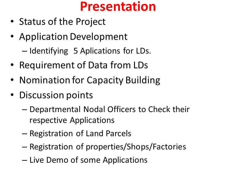 Presentation Status of the Project Application Development