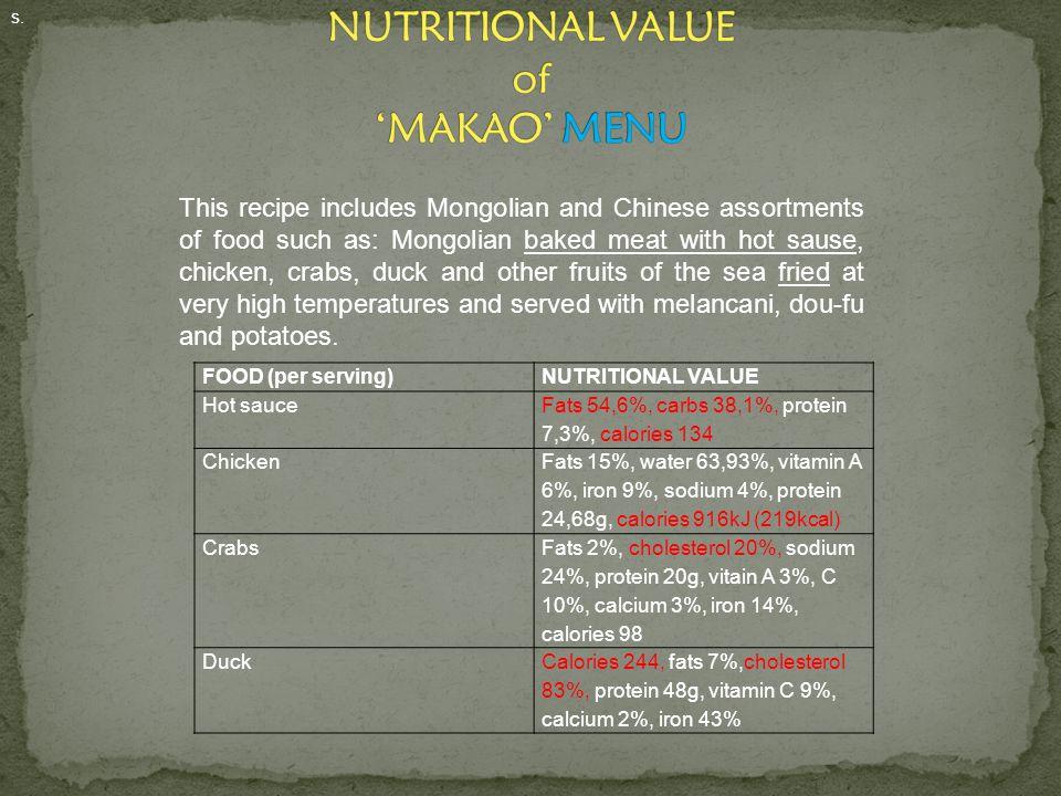 NUTRITIONAL VALUE of 'MAKAO' MENU