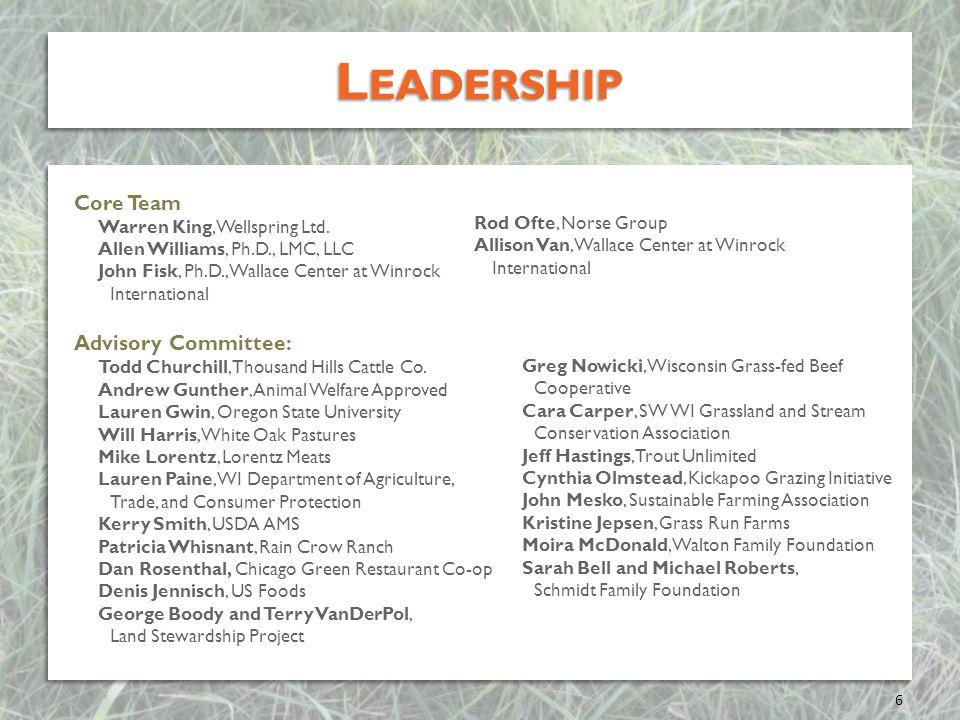 Leadership Core Team Advisory Committee: Warren King, Wellspring Ltd.