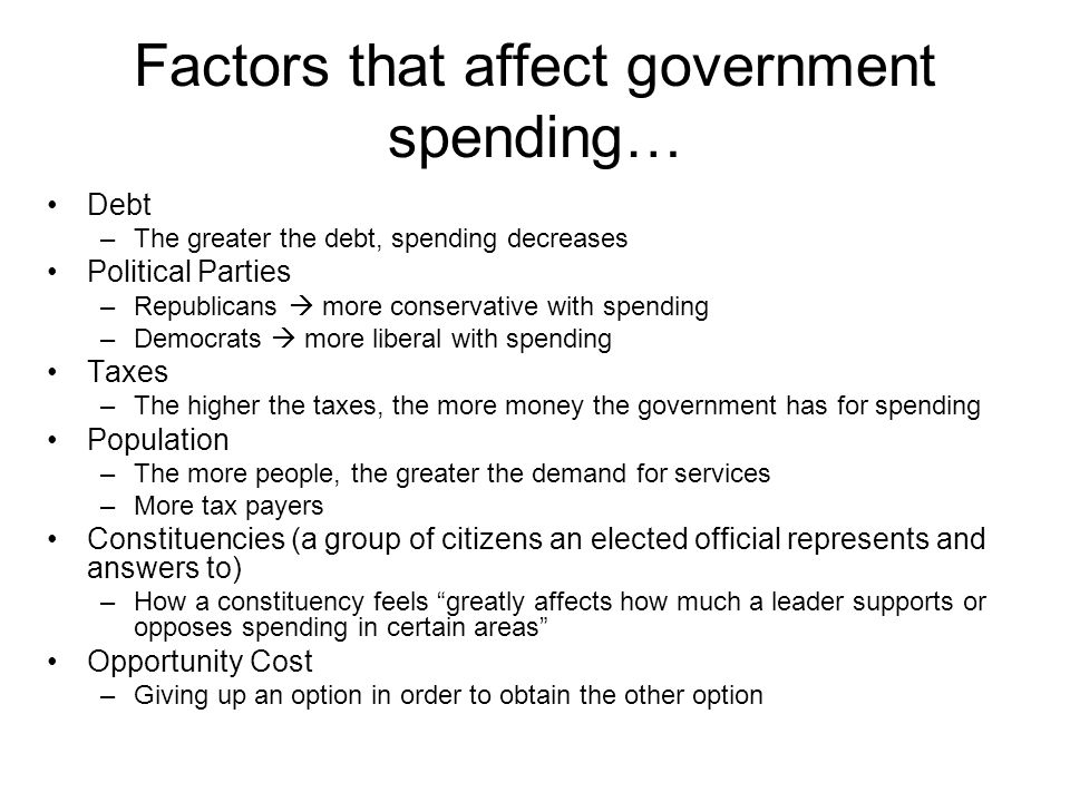Factors that affect government spending…