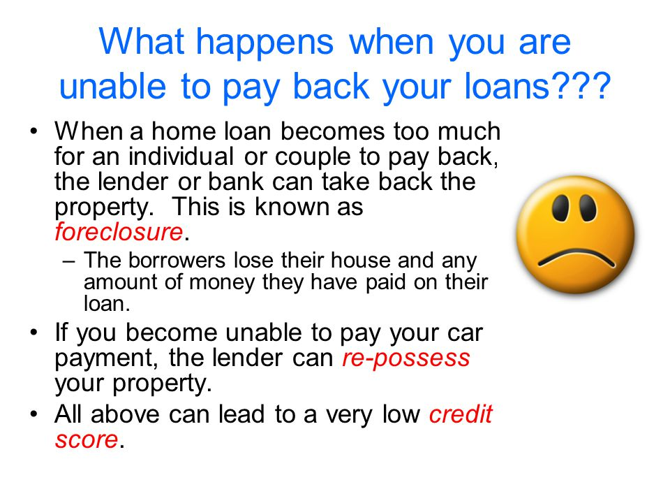 What happens when you are unable to pay back your loans