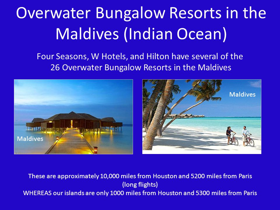 Overwater Bungalow Resorts in the Maldives (Indian Ocean)