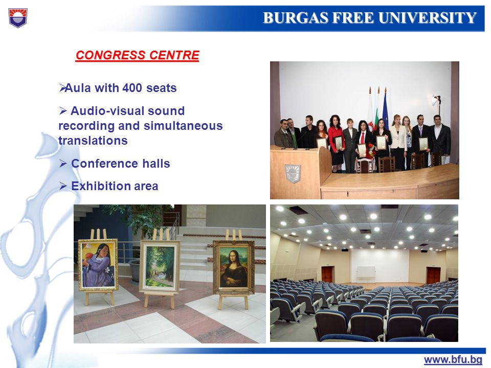 CONGRESS CENTRE Aula with 400 seats. Audio-visual sound recording and simultaneous translations. Conference halls.
