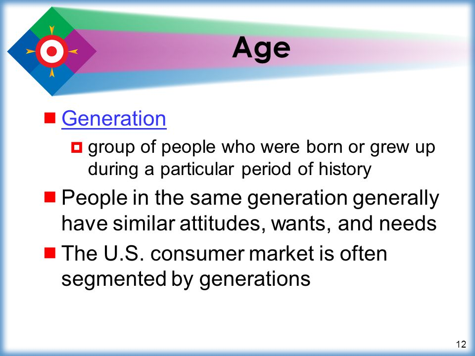 Age Generation. group of people who were born or grew up during a particular period of history.